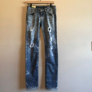 Machine Distressed Light Wash Straight Leg  Jeans